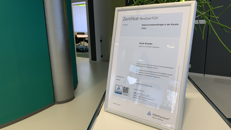 Zertifikat Datenschutzbeauftragte